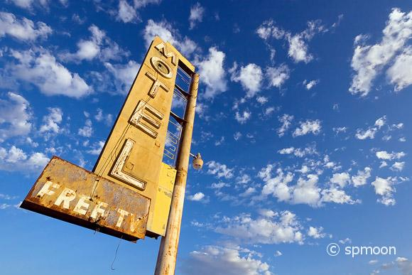 Old motel sign on historic route 66, CA