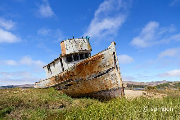 Old abandoned fishing boat near Point Reyes National Seashore, CA.
