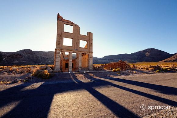 Cook bank building in late afternoon, Rhyolite