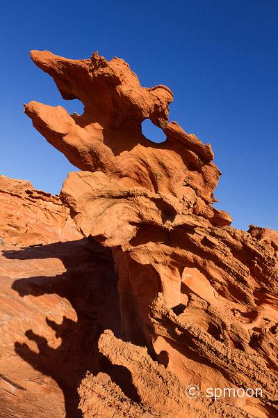 Monster like red rock formation, Little Finland, Nevada.