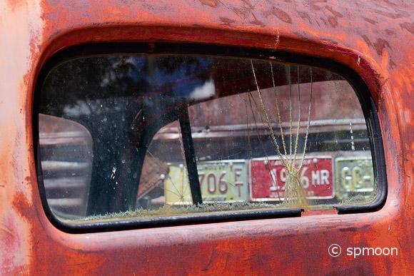 Broken Car Window, Hackberry, AZ