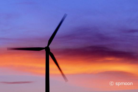 Wind turbine in motion at sunset, Palm Springs, CA.