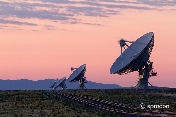 Radio Telescope at Sunrise, VLA, New Mexico