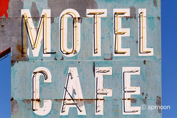 Old Motel and Cafe Sign on Historic Route 66, CA