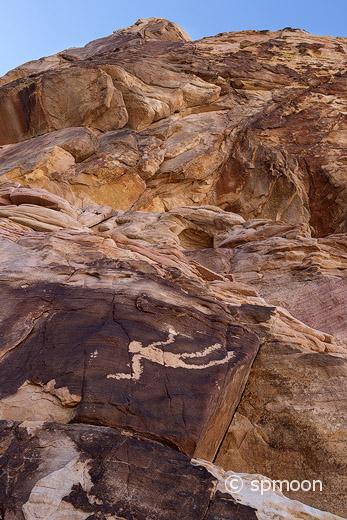 Falling man petroglyph in Gold Butte area, Nevada