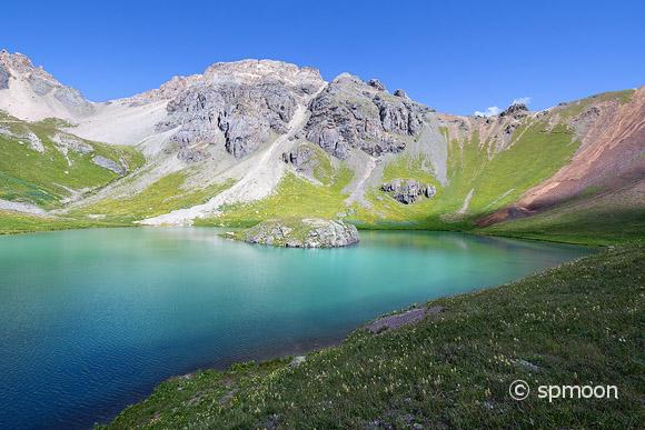 Beautiful Island Lake in San Juan Mountains near Silverton, Colorado