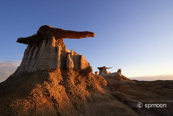 Stone Wings rock formation at sunrise in Bisti Wilderness, New Mexico