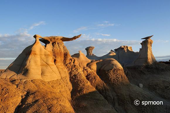 Stone Wings rock formation at sunrise in Bisti Wilderness area, New Mexico