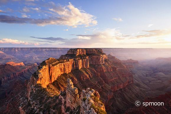 Wotans Throne, Cape Royal at Sunset, Grand Canyon North Rim, AZ