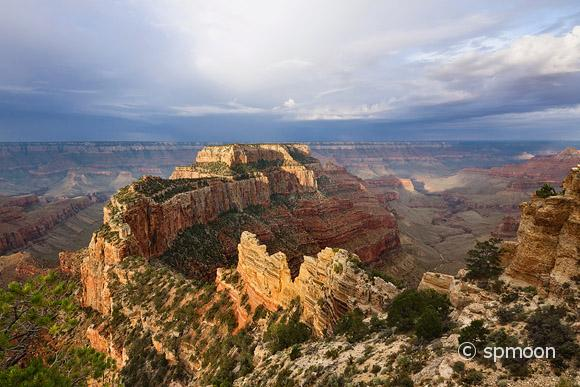 Woton's Throne, Cape Royal at Sunrise with stormy sky, Grand Canyon North Rim, AZ