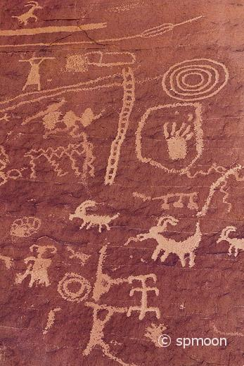 Ancient petroglyph, Valley of Fire State Park, Nevada.