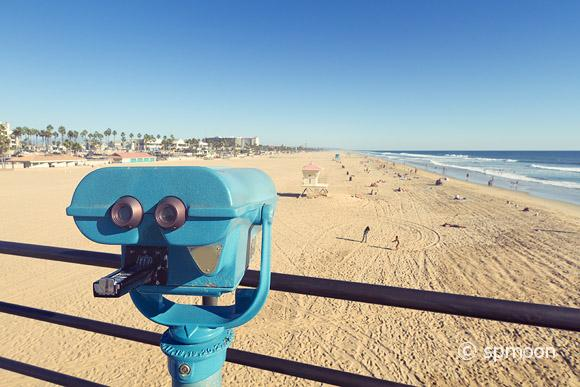 Binoculars at Huntington Beach pier, California with Vintage Effect