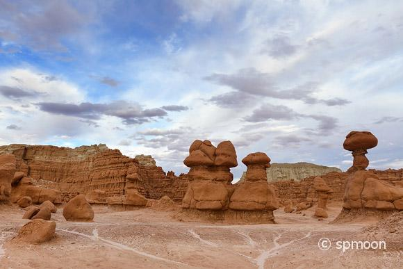 Unusual sandstone rock formation at Goblin Valley State Park, UT.