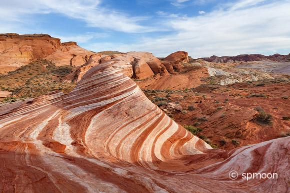 Fire Wave - beautifully striped sandstone rock formation, Valley of Fire State Park, NV.