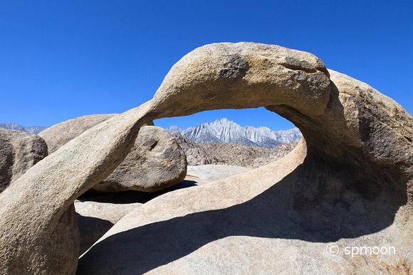 The Mobius Arch over Sierra Nevada Mountains in morning light, Alabama Hills, CA