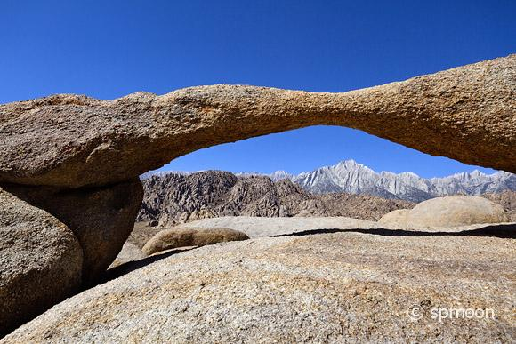 Arch over Sierra Nevada Mountains in morning light, Alabama Hills, CA