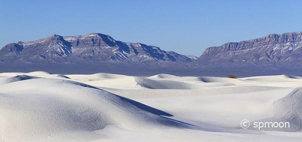 White Sand Dunes and San Andres Mountains, White Sands National Monument, New Mexico