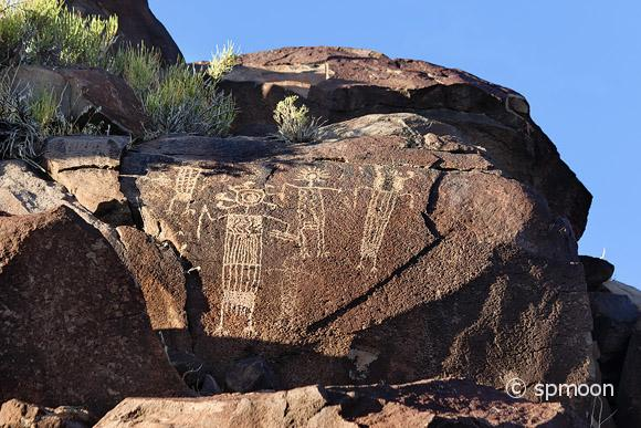 Petroglyphs of anthropomorphic figures, Coso Rock Art District near Ridgecrest, CA