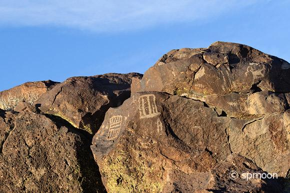 Ancient petroglyphs at Coso Rock Arit District, near Ridgecrest, CA