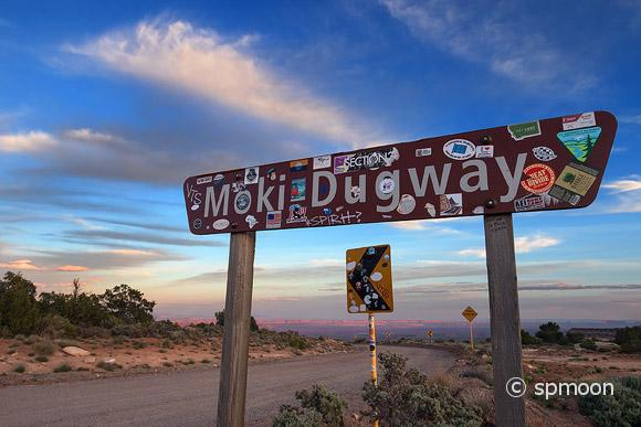Sign of Moki Dugway on Highway 216 at Sunset, Utah