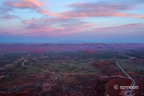 Panoramic view of the Valley of the Gods from the top of the Moki Dugway