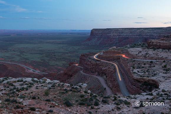 Moki Dugway at dusk on Hwy 261, Utah