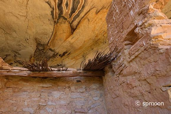 Thatched Roof of Monarch Cave Ruin in Butler Wash, Comb Ridge, Utah