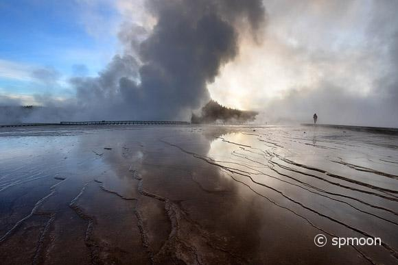 Bacterial Mats in Midway Geyser Basin at Sunrise, Yellowstone National Park